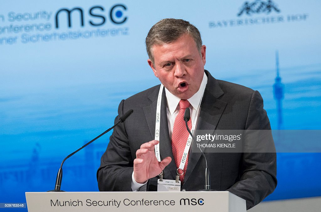King Abdullah II bin Al Hussein of Jordan delivers his speech on the first day of the 52nd Munich Security Conference (MSC) in Munich, southern Germany, on February 12, 2016. / AFP / THOMAS KIENZLE
