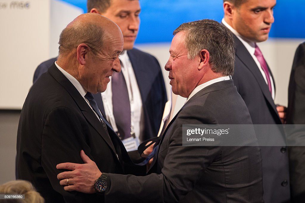 King <a gi-track='captionPersonalityLinkClicked' href=/galleries/search?phrase=Abdullah+II&family=editorial&specificpeople=171586 ng-click='$event.stopPropagation()'>Abdullah II</a> bin Al Hussein of Jordan (R) shakes hands with french Minister of Defense, <a gi-track='captionPersonalityLinkClicked' href=/galleries/search?phrase=Jean-Yves+Le+Drian&family=editorial&specificpeople=2122785 ng-click='$event.stopPropagation()'>Jean-Yves Le Drian</a>, at the 2016 Munich Security Conference at the Bayerischer Hof hotel on February 12, 2016 in Munich, Germany. The annual event brings together government representatives and security experts from across the globe and this year the conflict in Syria will be the main issue under discussion.