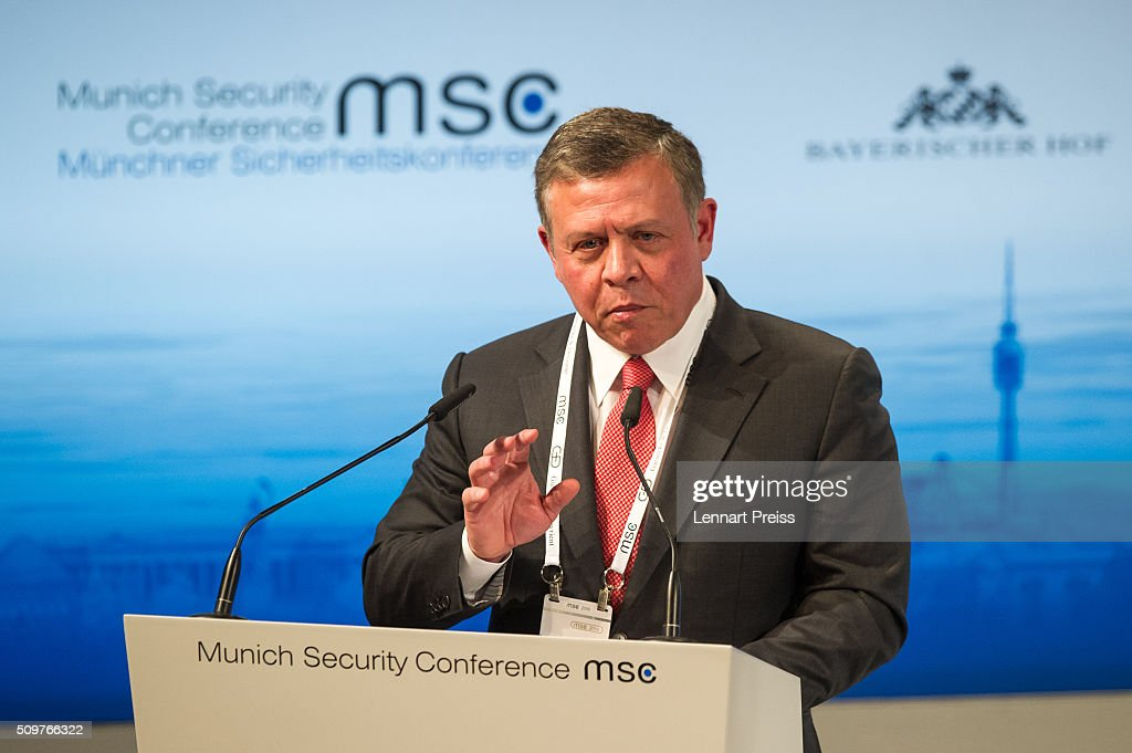 King Abdullah II bin Al Hussein of Jordan speaks at the 2016 Munich Security Conference at the Bayerischer Hof hotel on February 12, 2016 in Munich, Germany. The annual event brings together government representatives and security experts from across the globe and this year the conflict in Syria will be the main issue under discussion.