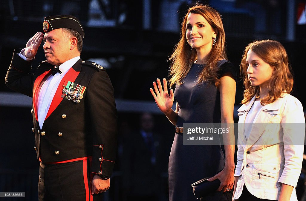 King Abdullah II bin al-Hussein and Queen Rania and Princess Iman of Jordan attend the Royal Military Tattoo at Edinburgh Castle on August 18, 2010 in Edinburgh, Scotland. The visit marks the first occasion a Sovereign from the Middle East has attended Scotland's annual showpiece military event.