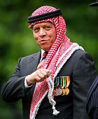 King Abdullah II ibn alHussein of Jordan attends the 90th annual Combined Cavalry Old Comrades Association Parade in Hyde Park on May 11 2014 in...