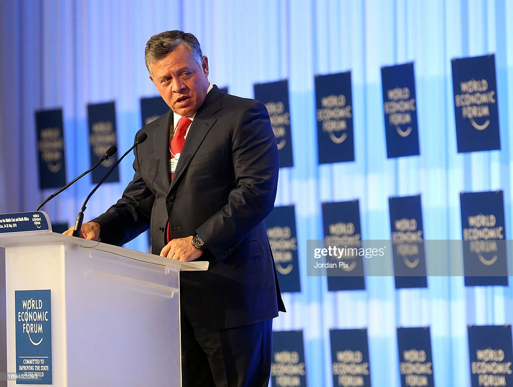 <a gi-track='captionPersonalityLinkClicked' href=/galleries/search?phrase=King+Abdullah+II+of+Jordan&family=editorial&specificpeople=171586 ng-click='$event.stopPropagation()'>King Abdullah II of Jordan</a> addresses the World Economic Forum on the Middle East and North Africa 2013 on May 25, 2013, in Dead Sea, Jordan. The forum runs May 24-26 and is being participated by 23 countries, under the theme of 'Advancing Conditions for Growth and Resilience.'