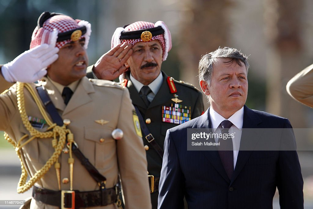 King Abdullah II of Jordan arrives at an official celebration for the 65th anniversary of Independence, on May 25, 2011 in Amman, Jordan. The Hashemite Kingdom of Jordan gained independence from Britain on May 25, 1946.