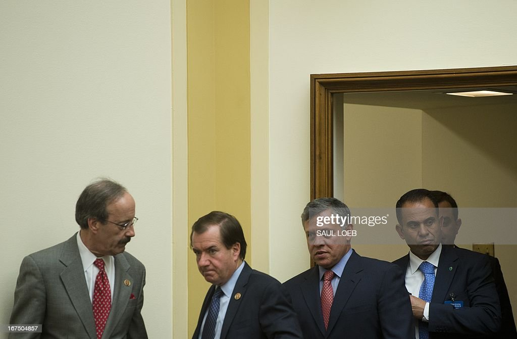 King Abdullah II of Jordan (2nd R) arrives for a meeting with the House Committee on Foreign Affairs alongside California Republican Representative Ed Royce (2nd L), the committee's chairman, and New York Democrat Representative Eliot Engel (L) on Capitol Hill in Washington, DC, on April 25, 2013. AFP PHOTO / Saul LOEB