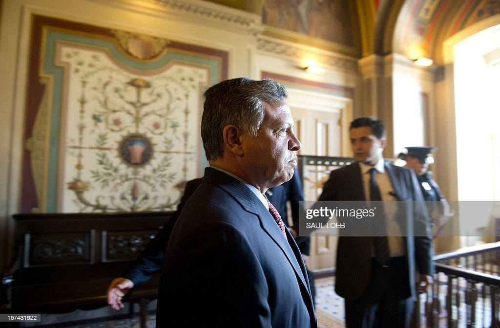 King Abdullah II of Jordan arrives for a meeting with the US Senate Foreign Relations committee at the US Capitol in Washington, DC, on April 25, 2013. AFP PHOTO / Saul LOEB