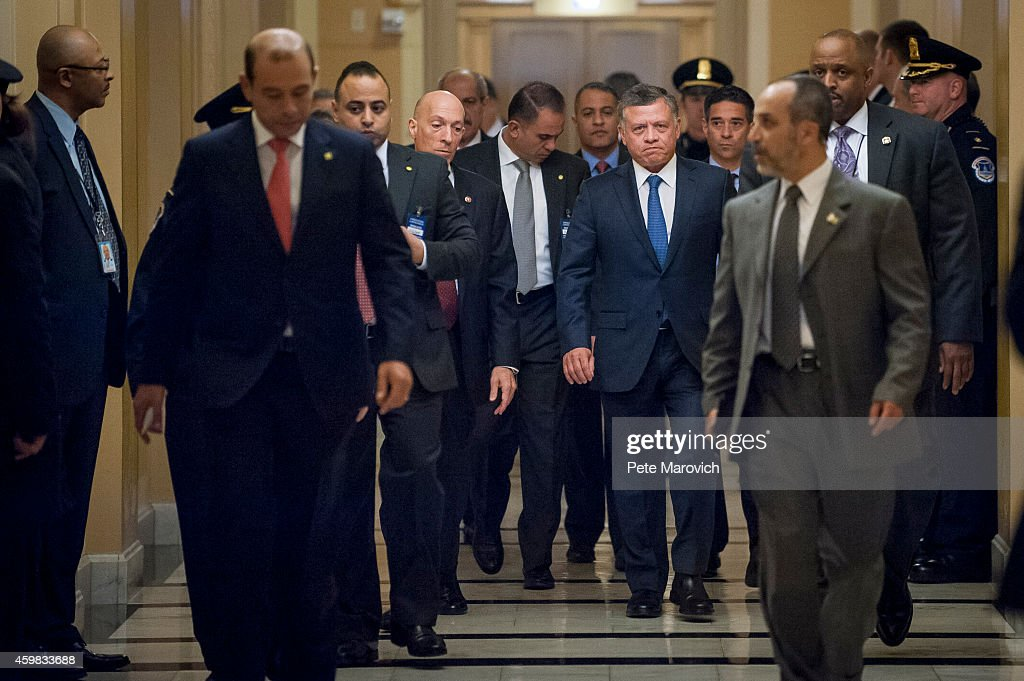 King Abdullah II of Jordan arrives to meets with members of the House Foreign Affairs Committee on Capitol Hill on December 2, 2014 in Washington, DC. King Abdullah is schedueled to meet with U.S. President Obama on December 5.