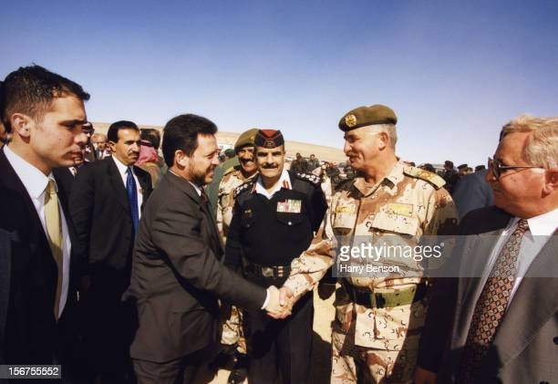 MA'AN JORDAN JANUARY 01 King Abdullah II of Jordan is photographed with army dignitaries for Life Magazine in 2000 in Ma'an Jordan