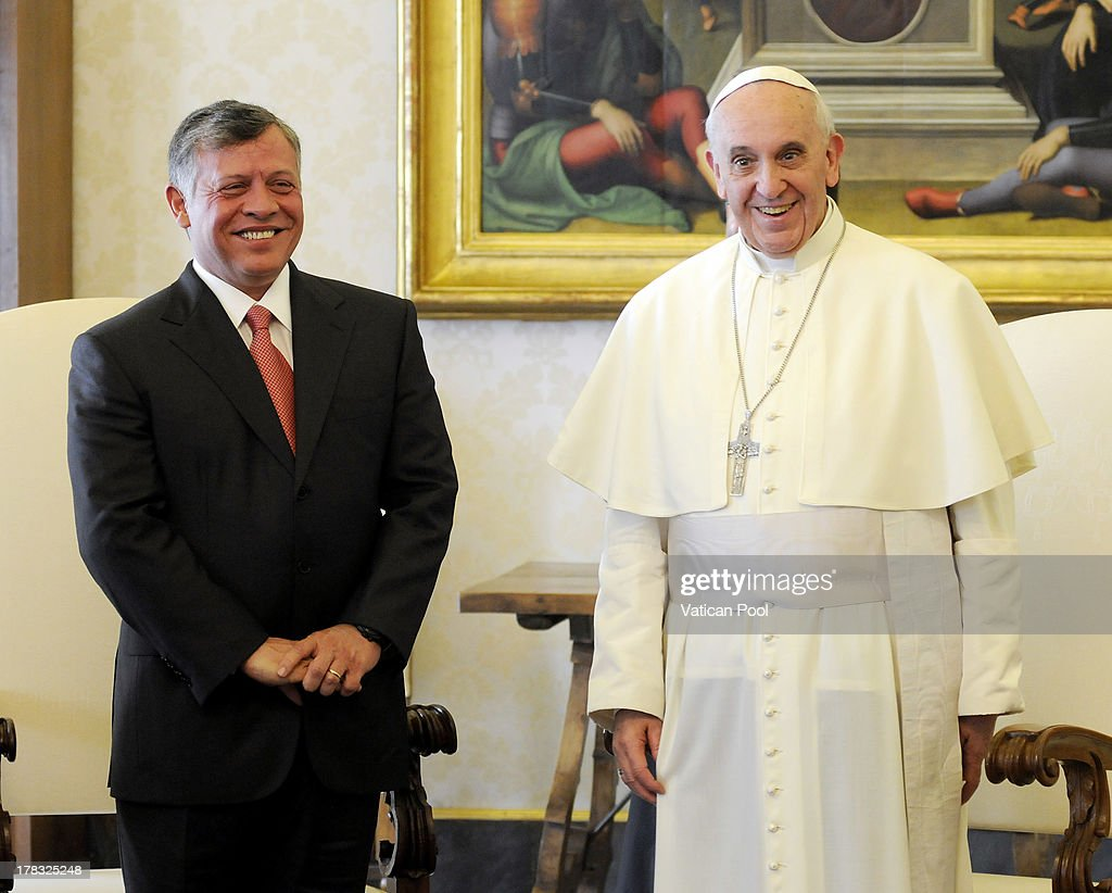 <a gi-track='captionPersonalityLinkClicked' href=/galleries/search?phrase=King+Abdullah+II+of+Jordan&family=editorial&specificpeople=171586 ng-click='$event.stopPropagation()'>King Abdullah II of Jordan</a> meets with <a gi-track='captionPersonalityLinkClicked' href=/galleries/search?phrase=Pope+Francis&family=editorial&specificpeople=2499404 ng-click='$event.stopPropagation()'>Pope Francis</a> at the Pope's private library on August 29, 2013 in Vatican City, Vatican. The Pope was expected to talk about Jordan's sheltering of those fleeing the civil war in neighboring Syria.