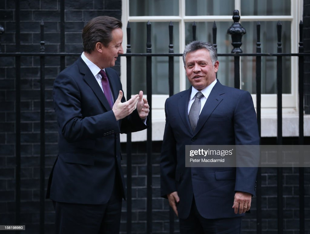 King Abdullah II of Jordan (R) meets with Prime Minister David Cameron at 10 Downing Street on December 11, 2012 in London, England. King Abdullah, on a two day visit to London, is due to discuss the ongoing efforts to deport terror suspect Abu Qatada from Britain.
