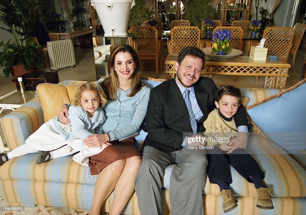 MA'AN, JORDAN - JANUARY 01: King Abdullah II of Jordan, Queen Rania, Prince Hussein and Princess Iman are photographed for Life Magazine in 2000 in Ma'an, Jordan.