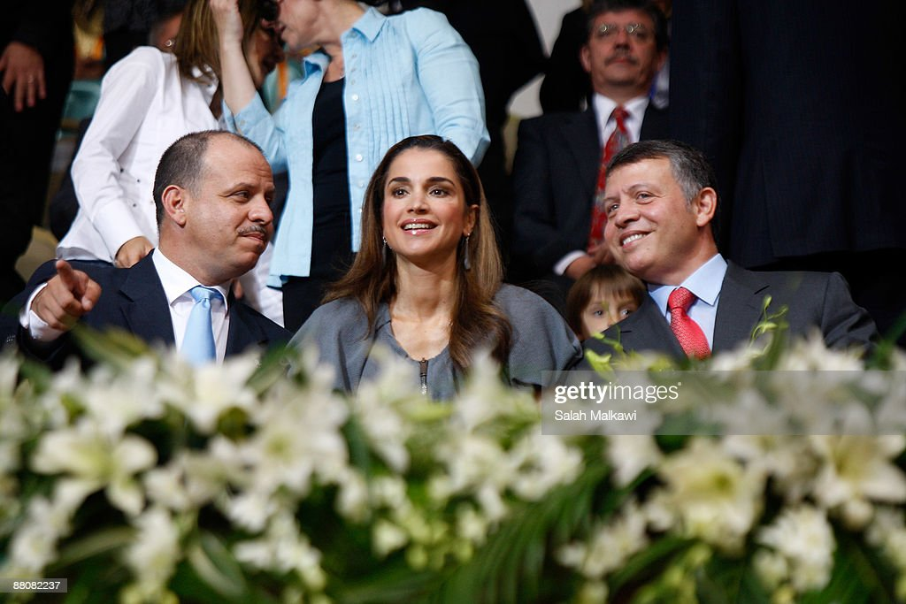 King Abdullah II, Queen Rania and Prince Faisal Bin Al-Hussein of Jordan attend The King Abdullah Award for Fitness ceremony on May 31, 2009 in Amman, Jordan.