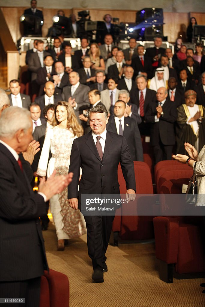 King Abdullah of Jordan, his wife Queen Rania of Jordan and their son Crown Prince Hussein arrive at an official celebration for the 65th anniversary of Independence on May 25, 2011 in Amman, Jordan. The Hashemite Kingdom of Jordan gained independence from Britain on May 25, 1946.