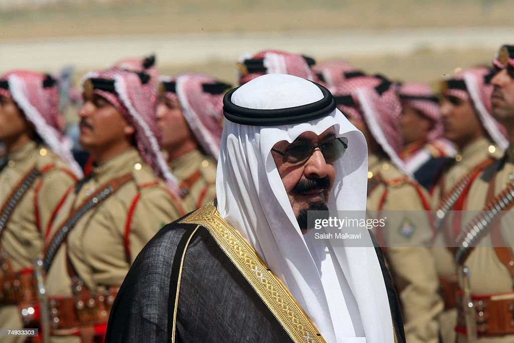 <a gi-track='captionPersonalityLinkClicked' href=/galleries/search?phrase=King+Abdullah+of+Saudi+Arabia&family=editorial&specificpeople=160169 ng-click='$event.stopPropagation()'>King Abdullah of Saudi Arabia</a> reviews a guard of honour during a reception held by to King Abdullah of Jordan upon his arrival on June 27, 2007 in Amman, Jordan. <a gi-track='captionPersonalityLinkClicked' href=/galleries/search?phrase=King+Abdullah+of+Saudi+Arabia&family=editorial&specificpeople=160169 ng-click='$event.stopPropagation()'>King Abdullah of Saudi Arabia</a> is in Jordan on a two day state visit for the first time as a King.