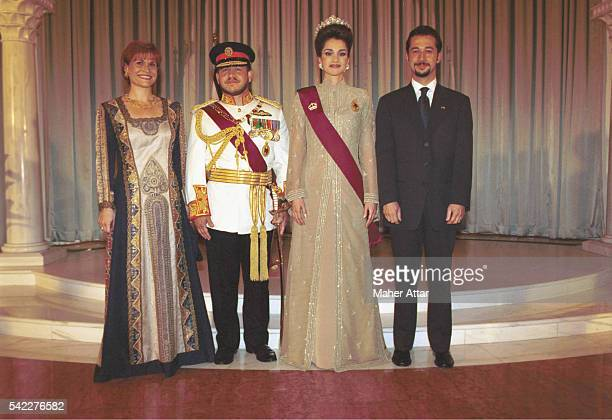 king-abdullah-queen-rania-with-princess-aisha-her-husband-zeid-jomah-picture-id542276582