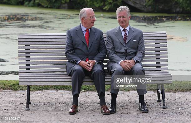 King Albert and Prince Philippe of Belgium attend the Belgian Royal Family official photocall at Laeken Castle on September 2 2012 in Brussels Belgium