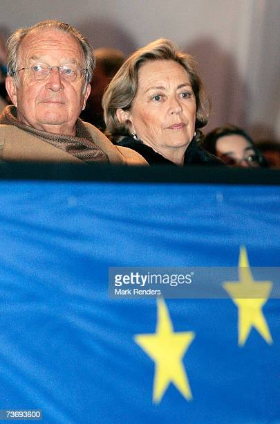 King Albert and Queen Paola of Belgium attend a concert at Heysel stadium for a celebration of the 50th anniversary of the Treaty of Rome on March 24...