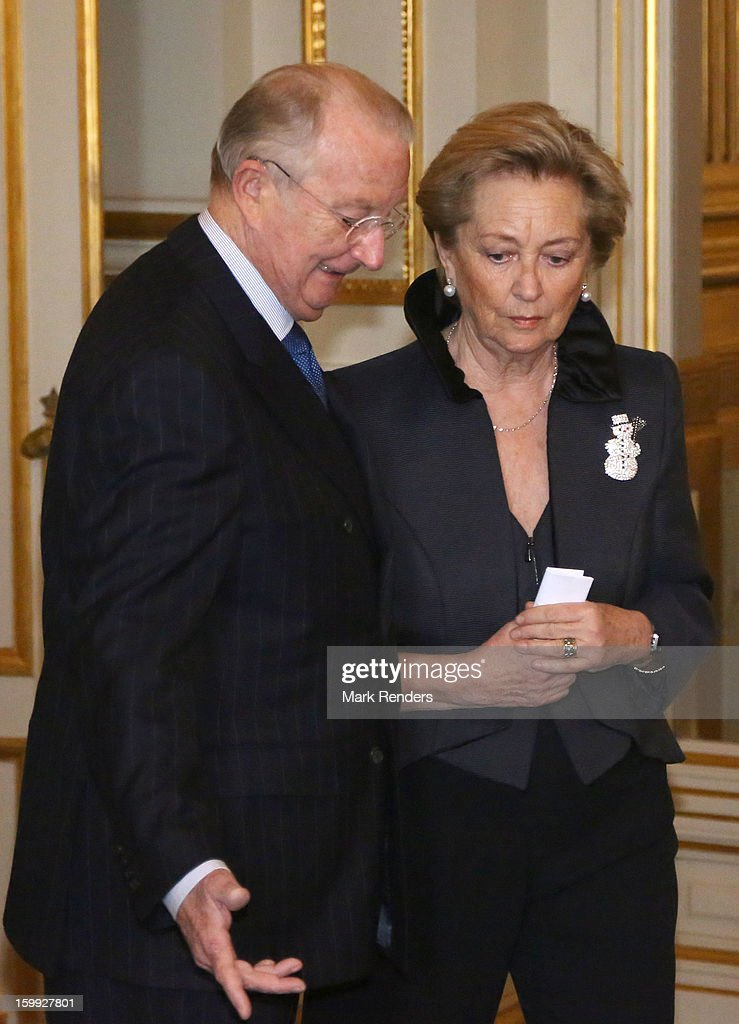 King Albert and Queen Paola of Belgium attend a New Year reception for the European Commission Officials at Palais de Bruxelles on January 23, 2013 in Brussel, Belgium.