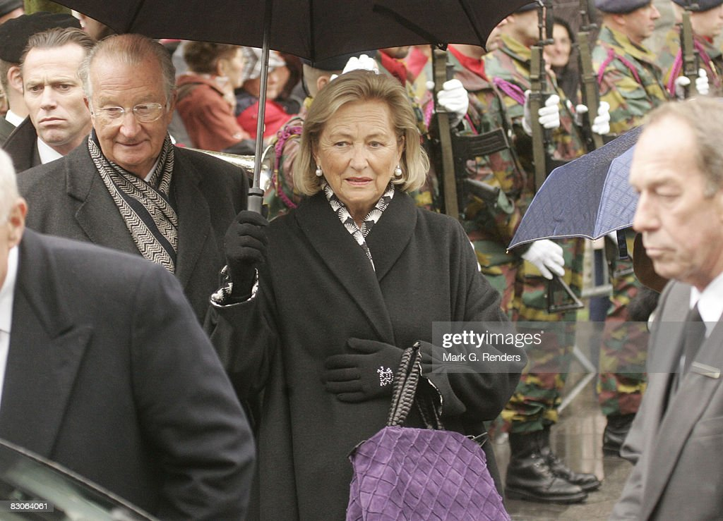 King Albert and Queen Paola of Belgium attend the funeral of Patrick d'Udekem d'Acoz, Princess Mathilde's Father at Saint Pierre Church on September 30, 2008 in Bastogne, Belgium.
