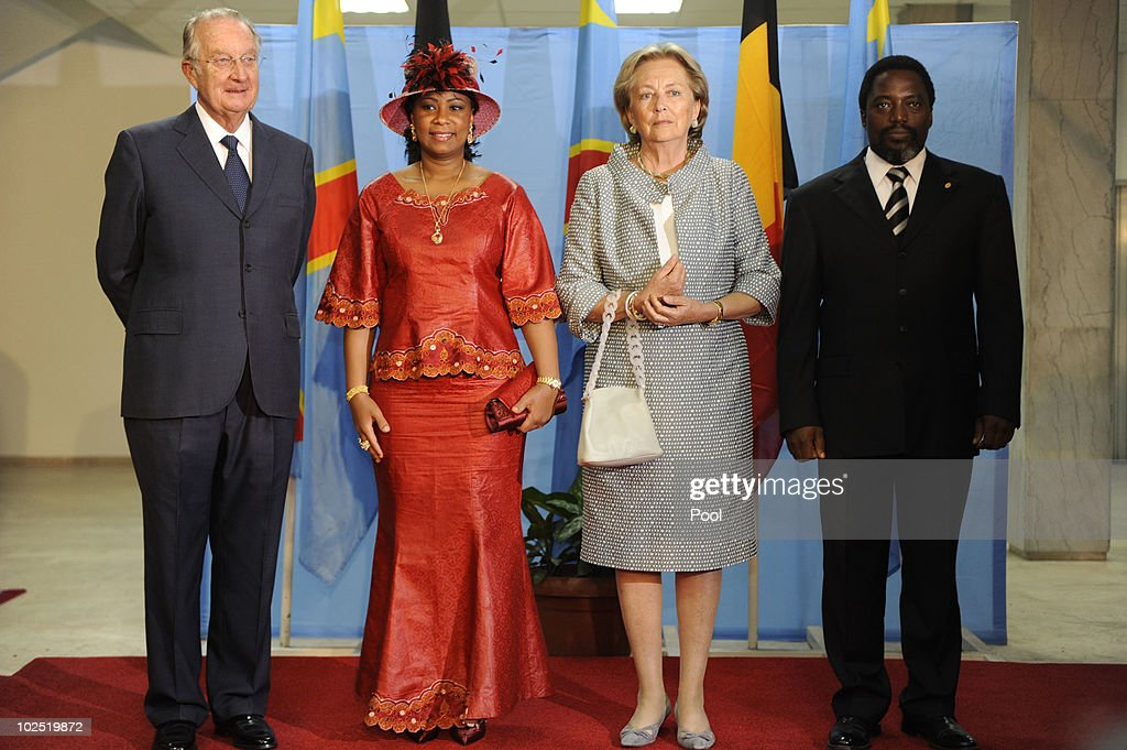 King Albert and Queen Paola of Belgium pose for a photo with and First Lady of Congo Olive Kabila (2L) and President of Congo Joseph Kabila (R) at the Palais des Nations on 28 June, 2010 in Kinshasa, Congo. King Albert and Queen Paola are in Congo for a 3-day State Visit and the 50th Anniversary of the Indepence of Congo.