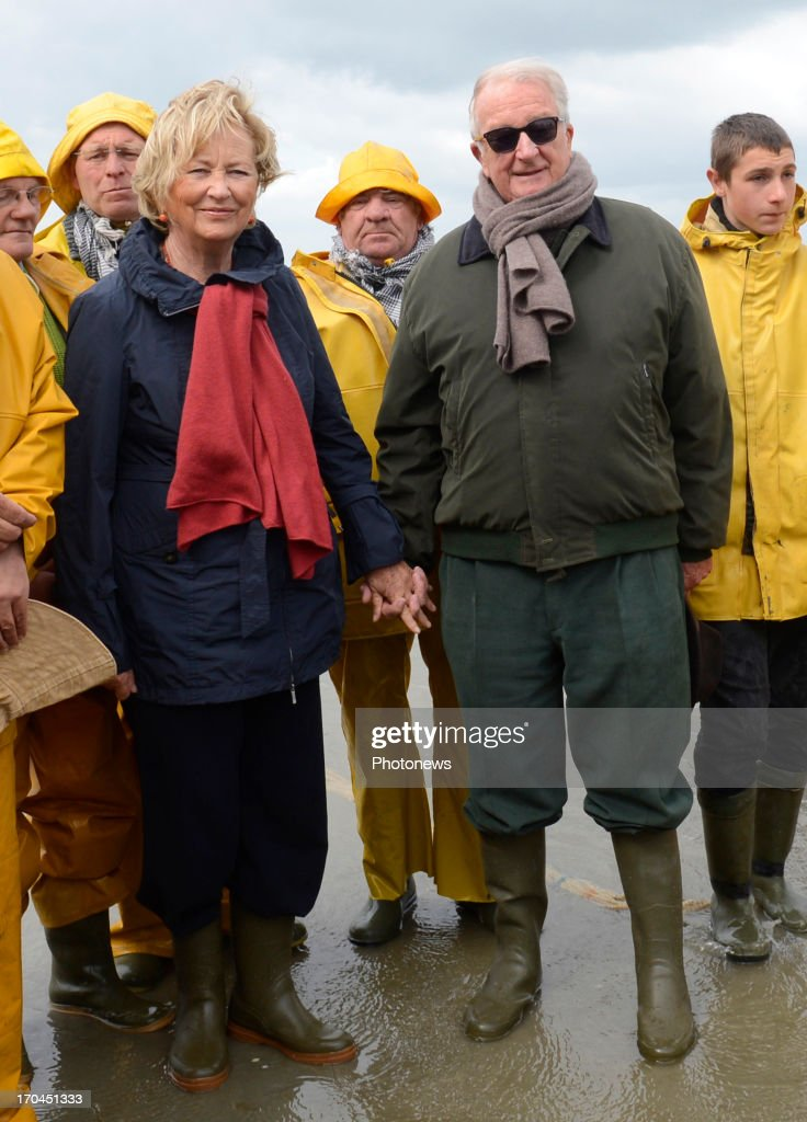King Albert And Queen Paola of Belgium Visit The Horse Shrimp Fishermen Of Oostduinkerke