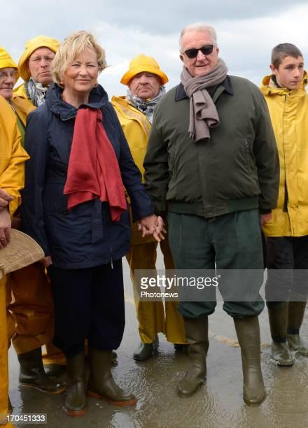 King Albert and Queen Paola of Belgium visit the Horse Shrimp Fishermen of Oostduinkerke on June 13 2013 in Oostduinkerke Belgium