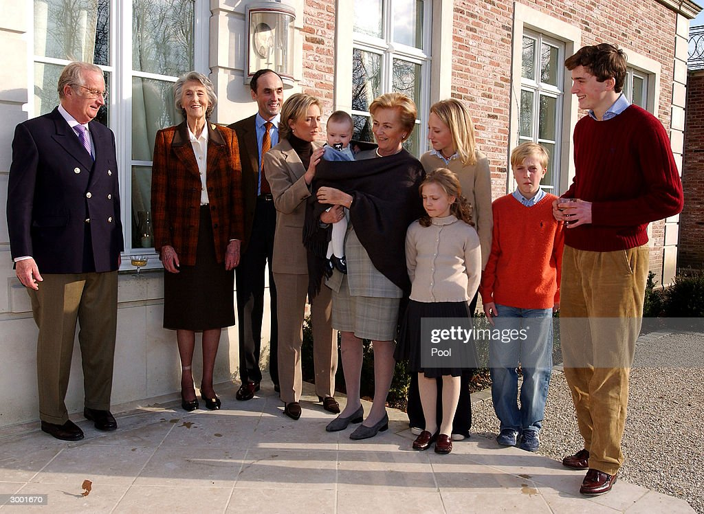 King Albert, Arch-duchess Margherita, Prince Lorenz, Prince Joachim, Princess Astrid, Princess Louisa-Maria and Prince Amedeo attend a photocall to celebrate Prince Amedeo's 18th birthday on February 20, 2004 in Brussels, Belgium.