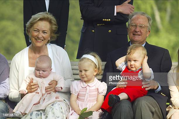King Albert II and Queen Paola of Belgium celebrate his 70th birthday in the company of their grandchildren Princess Elisabeth Prince Gabriel...