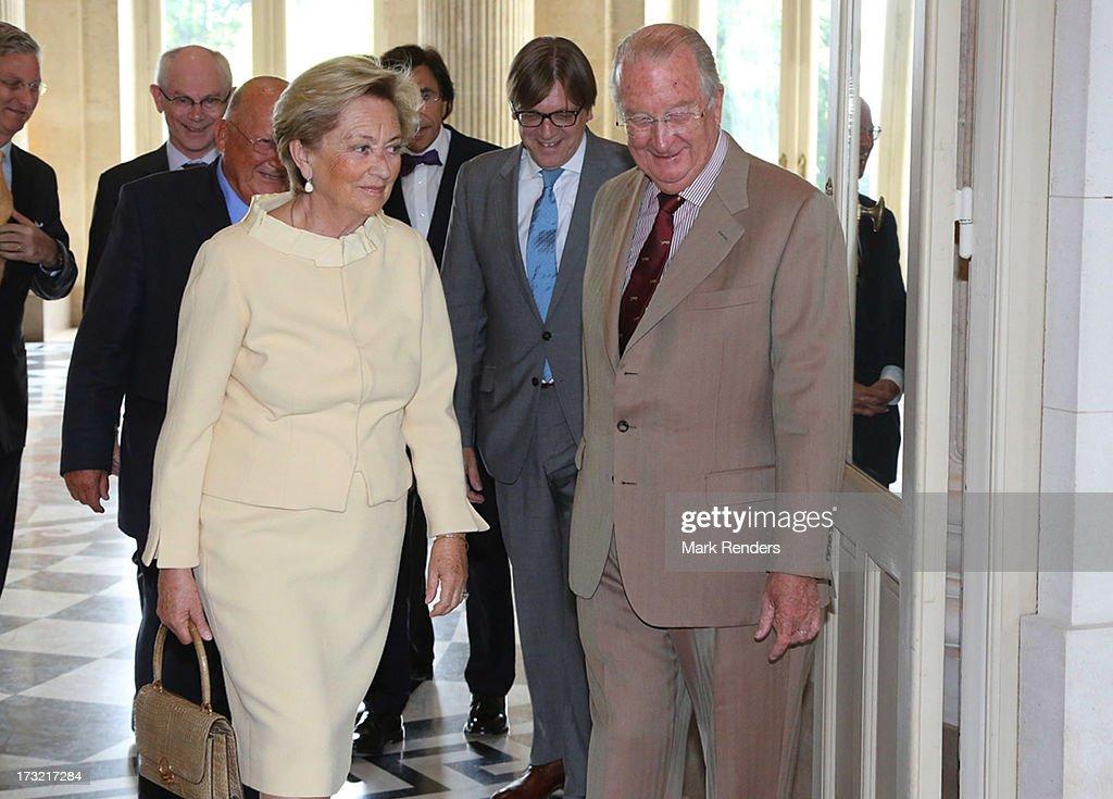 King Albert II (R) and Queen Paola of Belgium meet former Prime Ministers of Belgium at Laeken Castle on July 10, 2013 in Brussels, Belgium.