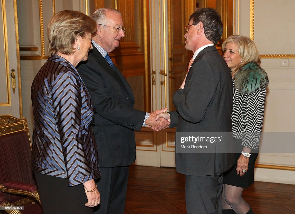 King Albert II and Queen Paola of Belgium meet US Ambassador Howard William Gutman during a New Year reception at Palais de Bruxelles on January 9, 2013 in Brussel, Belgium.