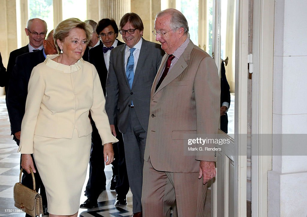 King Albert II (R) and Queen Paola of Belgium meet with former Belgian Prime Ministers at Laeken Castle on July 10, 2013 in Brussels, Belgium.
