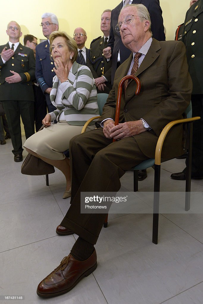 King Albert II and Queen Paola of Belgium visit a Military Hospital on April 25, 2013 in Neder-Over-Heembeek, Belgium.
