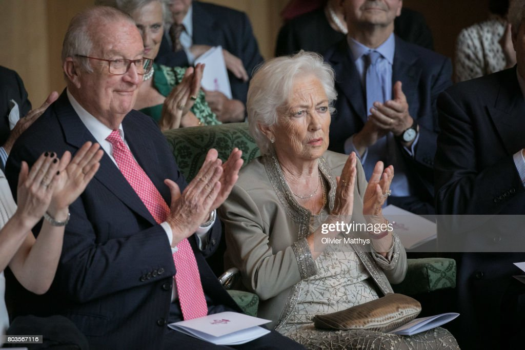 King Albert II of Belgium and Queen Paola of Belgium attend a concert at the Music Chapel to celebrate Paola's 80th anniversary on June 29, 2017 in Waterloo, Belgium.