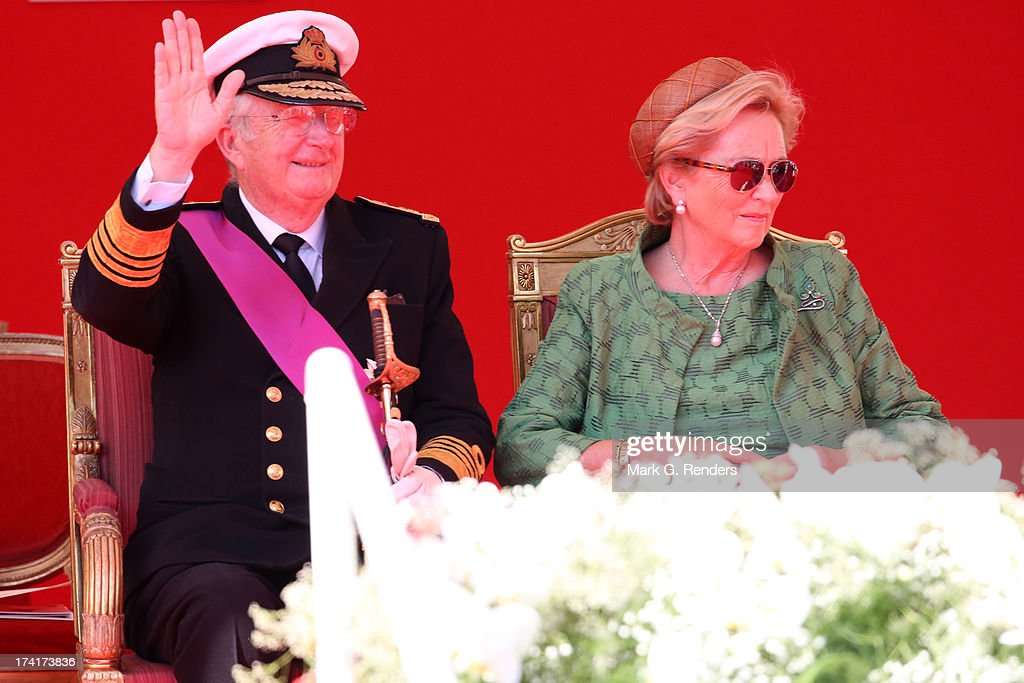 King Albert II of Belgium and Queen Paola of Belgium seen during the Civil and Military Parade during the Abdication Of King Albert II Of Belgium, & Inauguration Of King Philippe on July 21, 2013 in Brussels, Belgium.