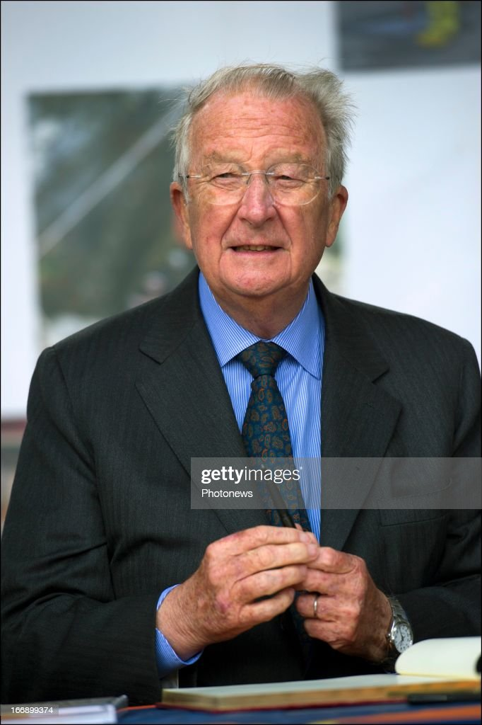 King <a gi-track='captionPersonalityLinkClicked' href=/galleries/search?phrase=Albert+II+of+Belgium&family=editorial&specificpeople=159444 ng-click='$event.stopPropagation()'>Albert II of Belgium</a> (R) during his visit to the Civilian Protection Unit in Ghlin on April 18, 2013 in Ghlin, Belgium.