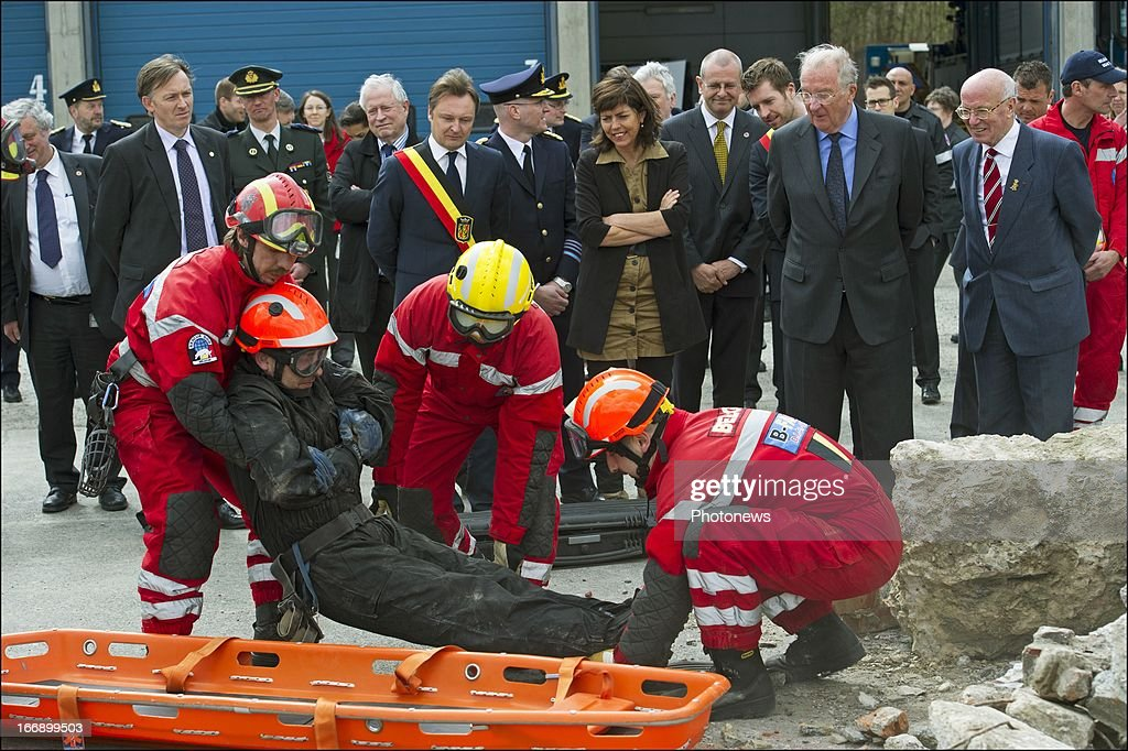 King <a gi-track='captionPersonalityLinkClicked' href=/galleries/search?phrase=Albert+II+of+Belgium&family=editorial&specificpeople=159444 ng-click='$event.stopPropagation()'>Albert II of Belgium</a> during his visit to the Civilian Protection Unit in Ghlin on April 18, 2013 in Ghlin, Belgium.