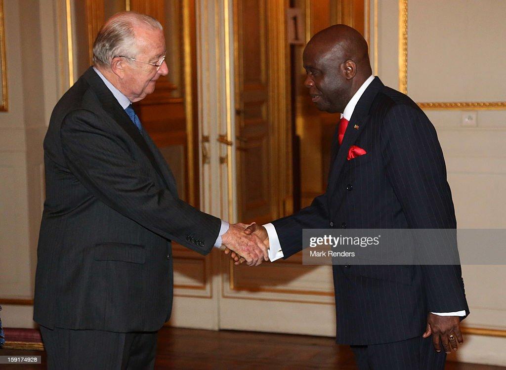 King Albert II of Belgium meets Congolese Ambassador Roger Julien Menga during a New Year reception at Palais de Bruxelles on January 9, 2013 in Brussel, Belgium.