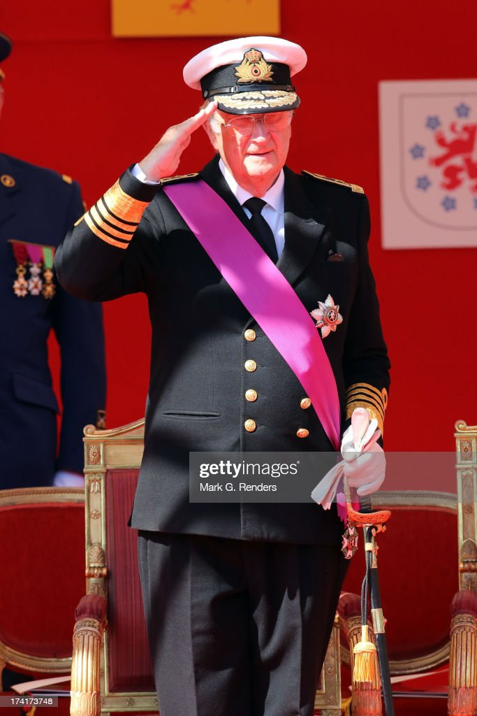 King Albert II of Belgium seen during the Civil and Military Parade during the Abdication Of King Albert II Of Belgium Inauguration Of King Philippe...