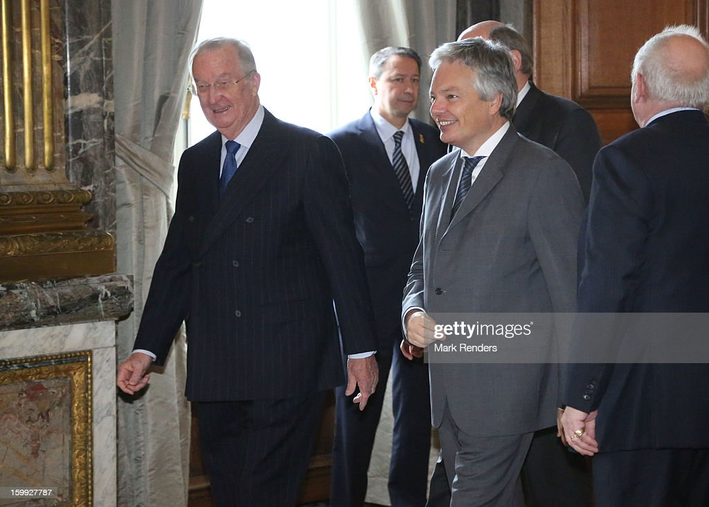 King Albert of Belgium and Belgian Minister of Foreighn Affairs Didier Reynders attend a New Year reception for the European Commission Officials at Palais de Bruxelles on January 23, 2013 in Brussel, Belgium.