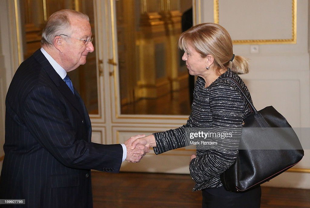 King Albert of Belgium and Vice President of the European Parliament Anni Podimata attend a New Year reception for the European Commission Officials at Palais de Bruxelles on January 23, 2013 in Brussel, Belgium.