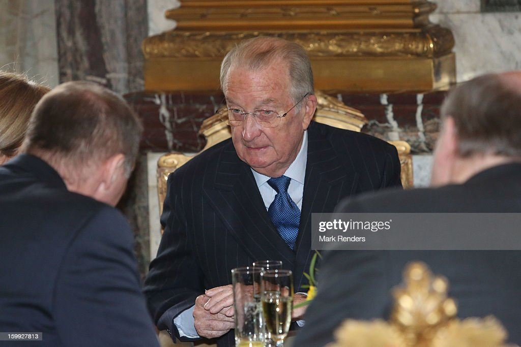 King Albert of Belgium attends a New Year reception for the European Commission Officials at Palais de Bruxelles on January 23, 2013 in Brussel, Belgium.