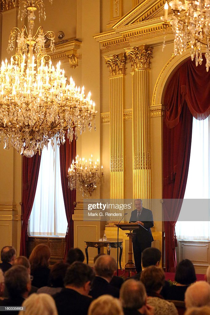 King Albert of Belgium delivers a speech at a New Year Reception for Country Officials at the Royal Palace on January 29, 2013 in Brussels, Belgium.