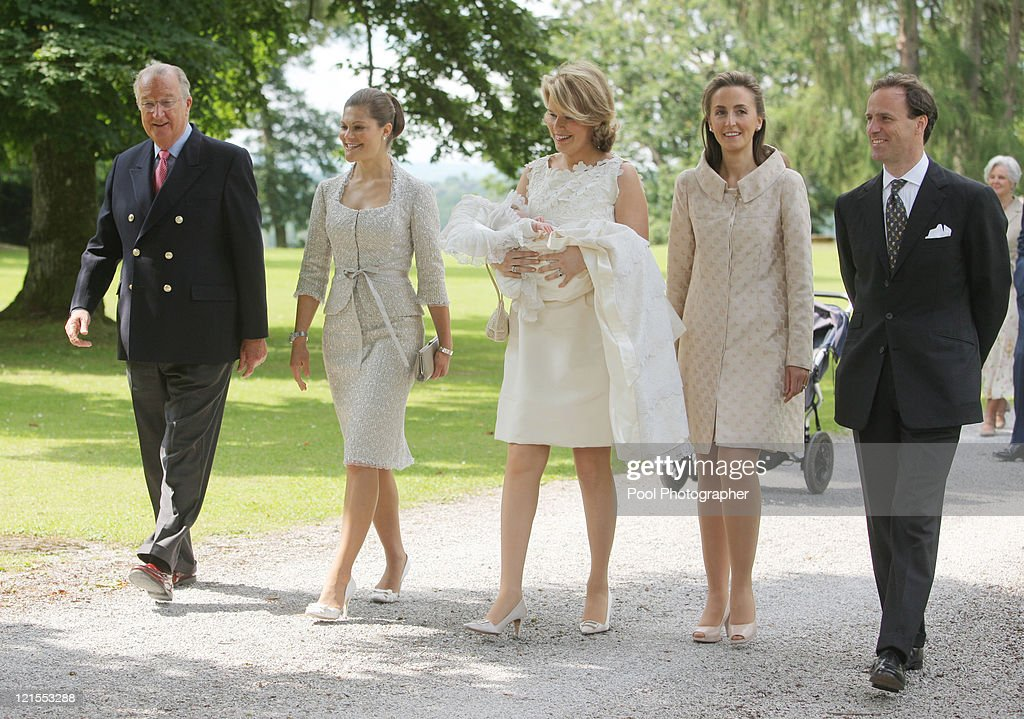 King Albert of Belgium, Princess Victoria of Sweden and Princess Mathilde of Belgium carrying Princess Eleonore of Belgium, Princess Claire of Belgium and Count Sebastien von Westphalen arrive for the baptism of Princess Eleonore at the Chapel of Ciergnon Castle on June 14, 2008 in Ciergnon, Belgium.