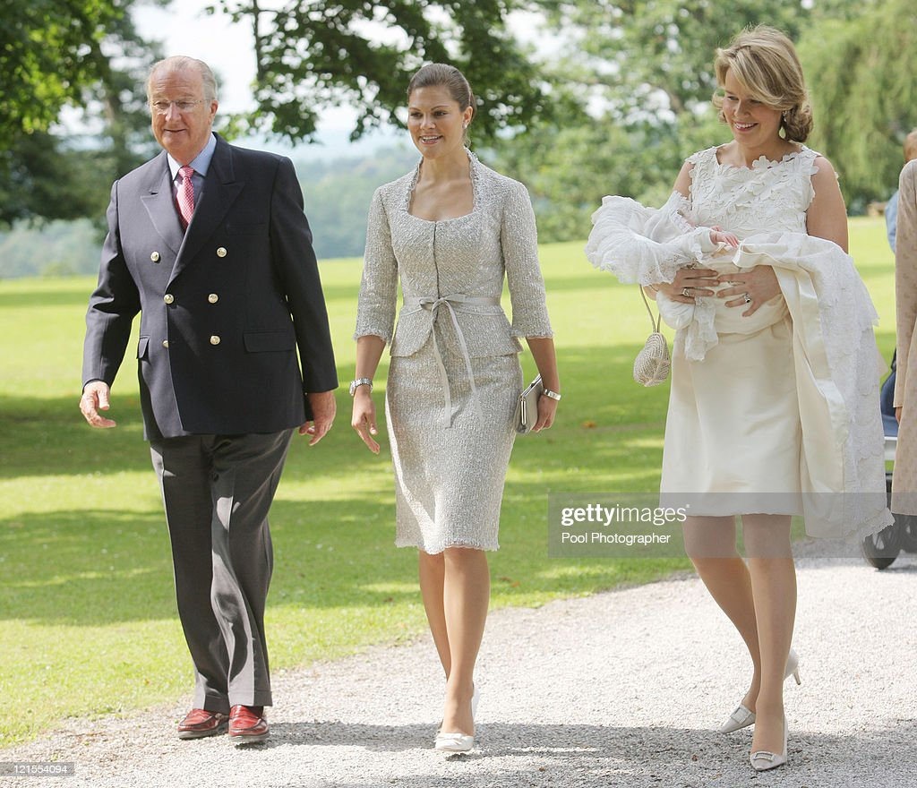 King Albert of Belgium, Princess Victoria of Sweden and Princess Mathilde of Belgium carrying Princess Eleonore of Belgium arrive for the baptism of Princess Eleonore at the Chapel of Ciergnon Castle on June 14, 2008 in Ciergnon, Belgium.
