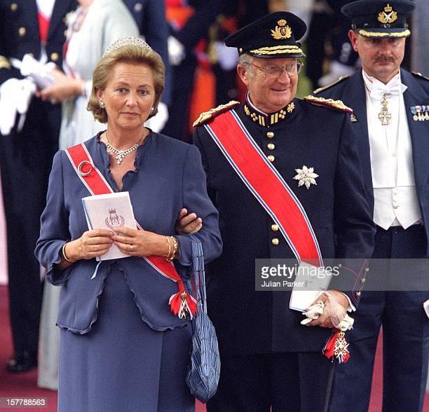 King Albert Queen Paola Of Belgium Attend The Wedding Of Crown Prince Haakon Of Norway MetteMarit In Oslo