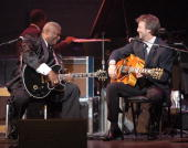 B B King and Eric Clapton at Jazz at Lincoln Center's 'Blowin' the Blues Away' June 2nd spring gala at the Apollo in New York