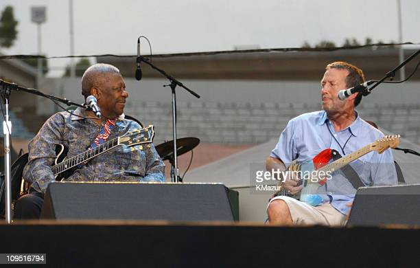 BB King and Eric Clapton during Crossroads Guitar Festival Day Three at Cotton Bowl Stadium in Dallas Texas United States