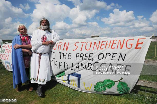 King Arthur Pendragon and his partner Kazz also known as Calliope with picket line banners after a judge evicted him from his livein protest site at...