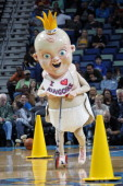 King Baby the New Orleans Hornets mascot entertains the crowd during the game against the Phoenix Suns on February 06 2013 at the New Orleans Arena...
