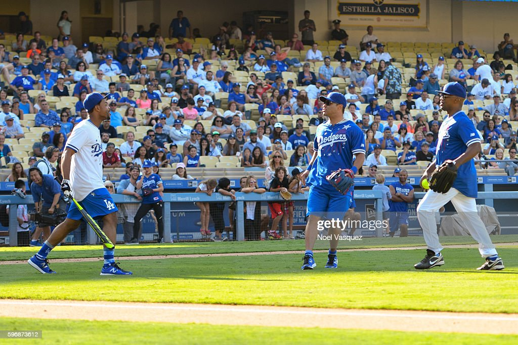 King Bach charges the mound against Jamie Foxx at the Hollywood Stars game at Dodger Stadium on August 27 2016 in Los Angeles California