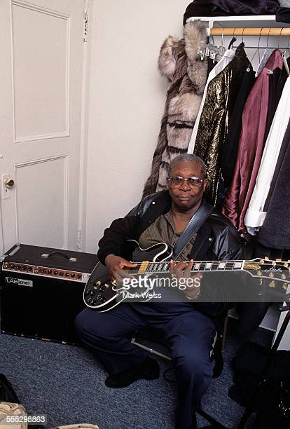 BB King backstage portrait at Count Basie Theatre Red Bank New Jersey United States January 2 1997 He is holding his guitar 'Lucille' based on a...